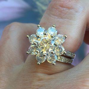 Jewelry - 14k white gold ring band set diamond wedding
